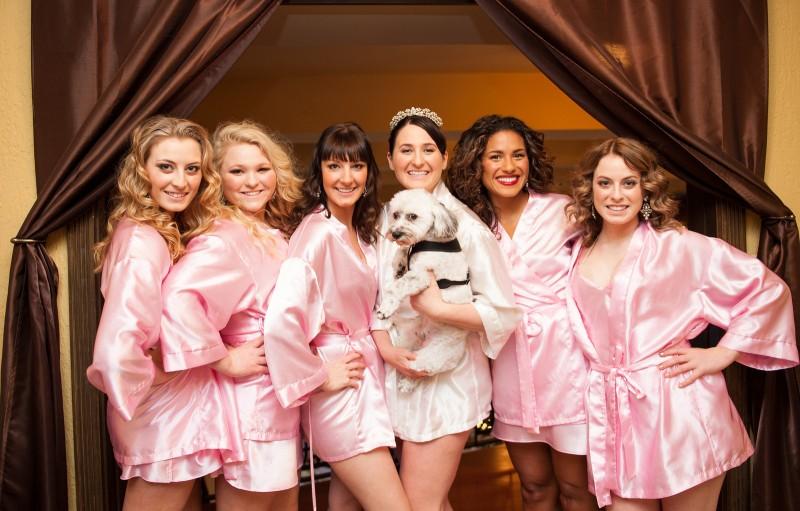 silk pink bridesmaid robes