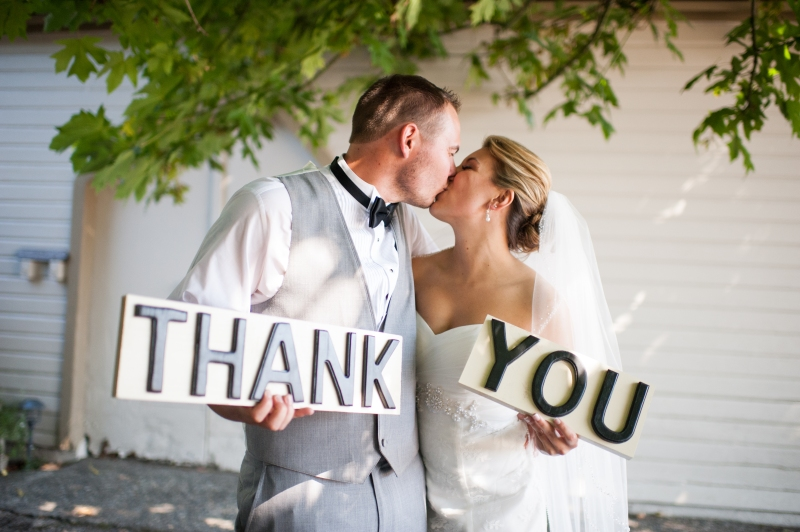 seattle wedding thank you sign bride groom