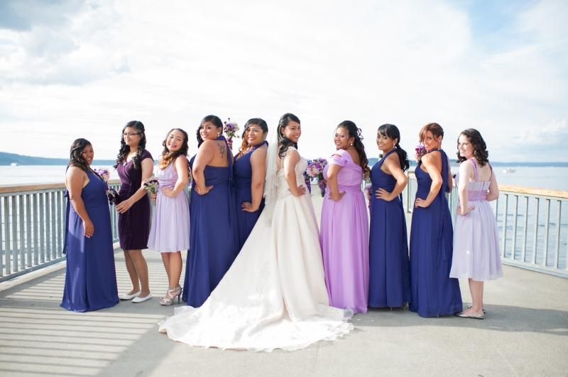 purple bridesmaids mukilteo rosehill community center wedding