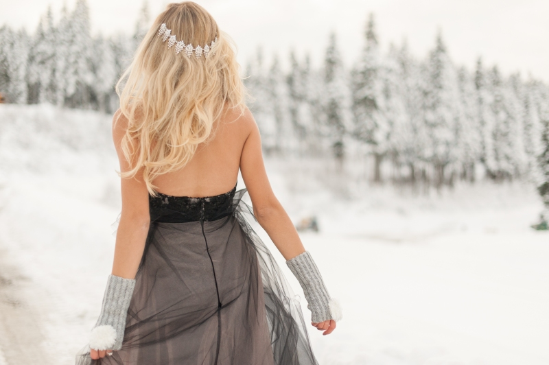 winter bride black dress