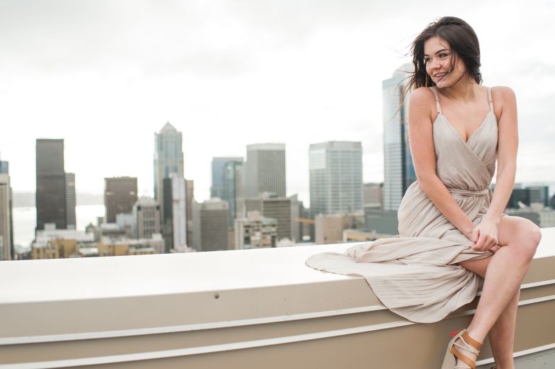 downtown seattle rooftop fashion photography