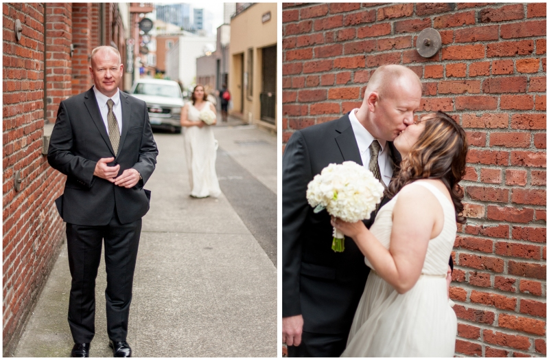 Pike Place Market Wedding first look