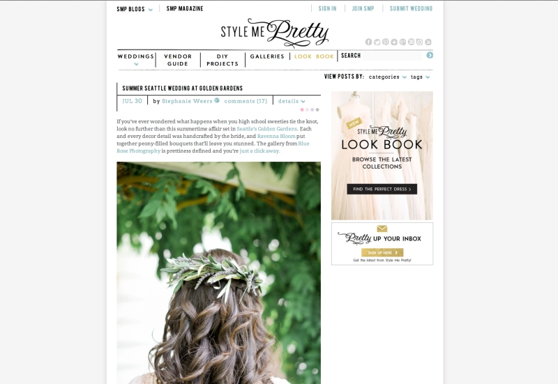 golden gardens wedding published on style me pretty