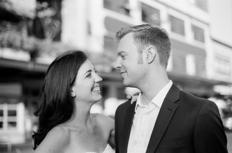 seattle pike place market engagement photos on film