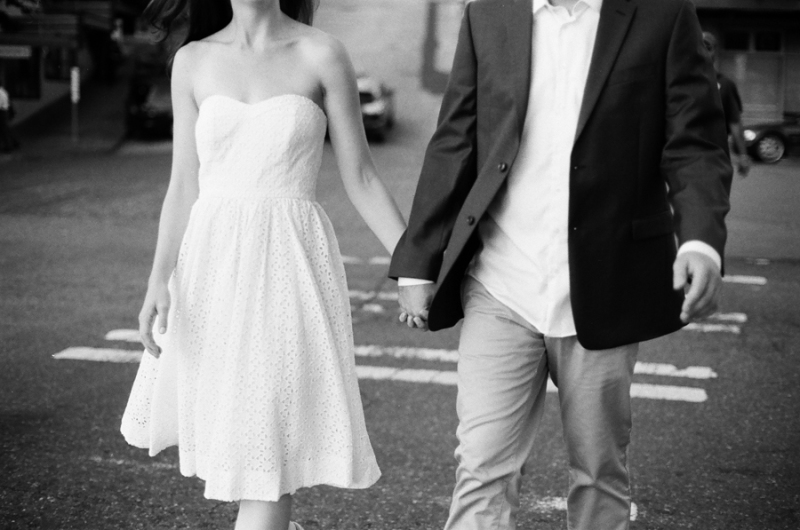 black and white film photography seattle engagement pike place market