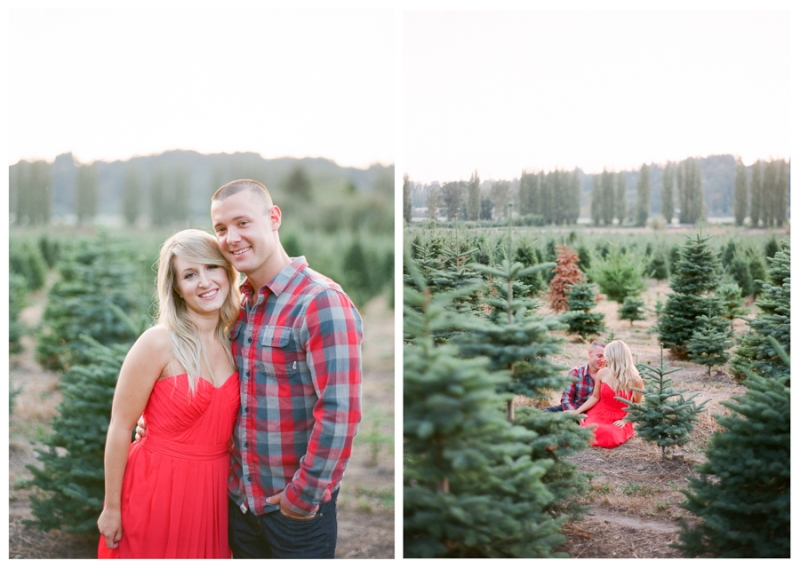 christmas tree farm engagement session