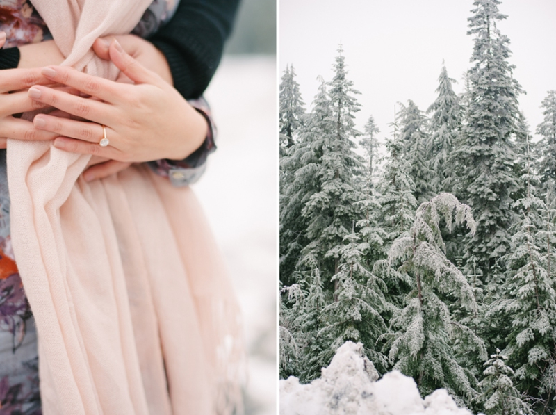 seattle winter engagement session in the snow