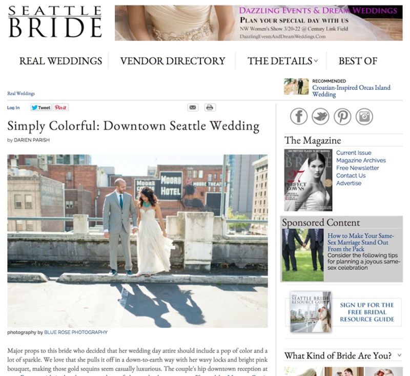 Published in Seattle Bride Magazine