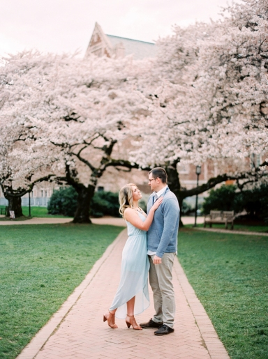 Cherry blossom spring engagement photos Seattle UW quad FILM fuji 400h