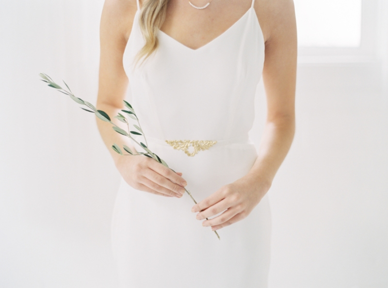 simple white modern bridal look