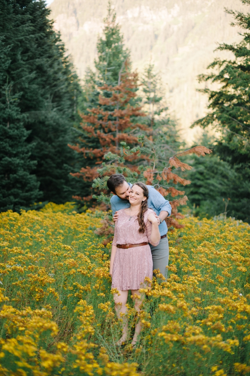 Gold Creek Pond Snoqualmie Engagement Photos wild flowers