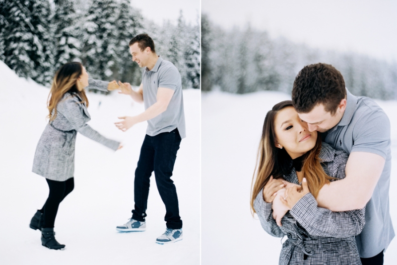 snow engagement session on film snoqualmie wa