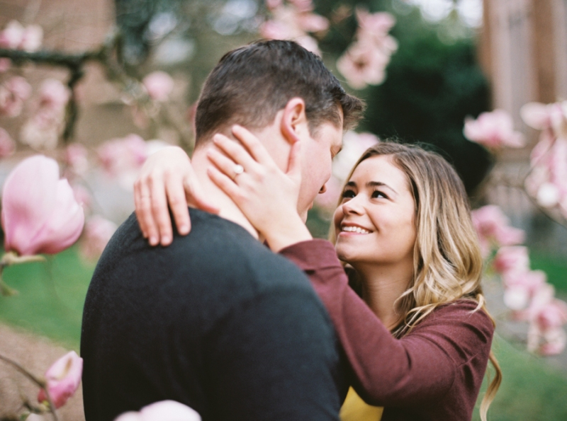 seattle cherry blossom engagement film