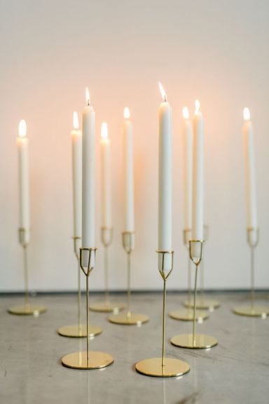 taper candles minimalist wedding design