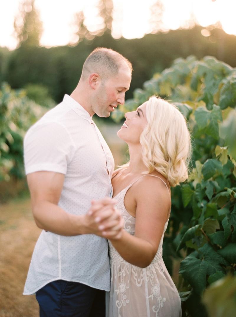 Vineyard Engagement Photos on Film Woodinville