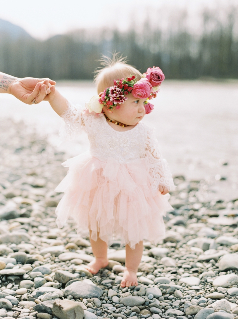 Bohemian One Year Old Portraits With Flower Crown At Snoqualmie