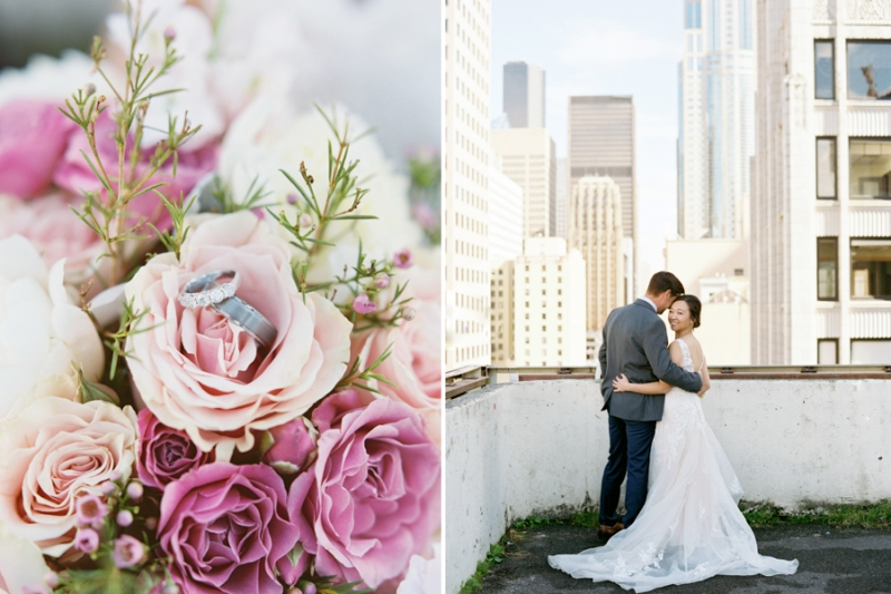 Seattle film wedding photographer rooftop