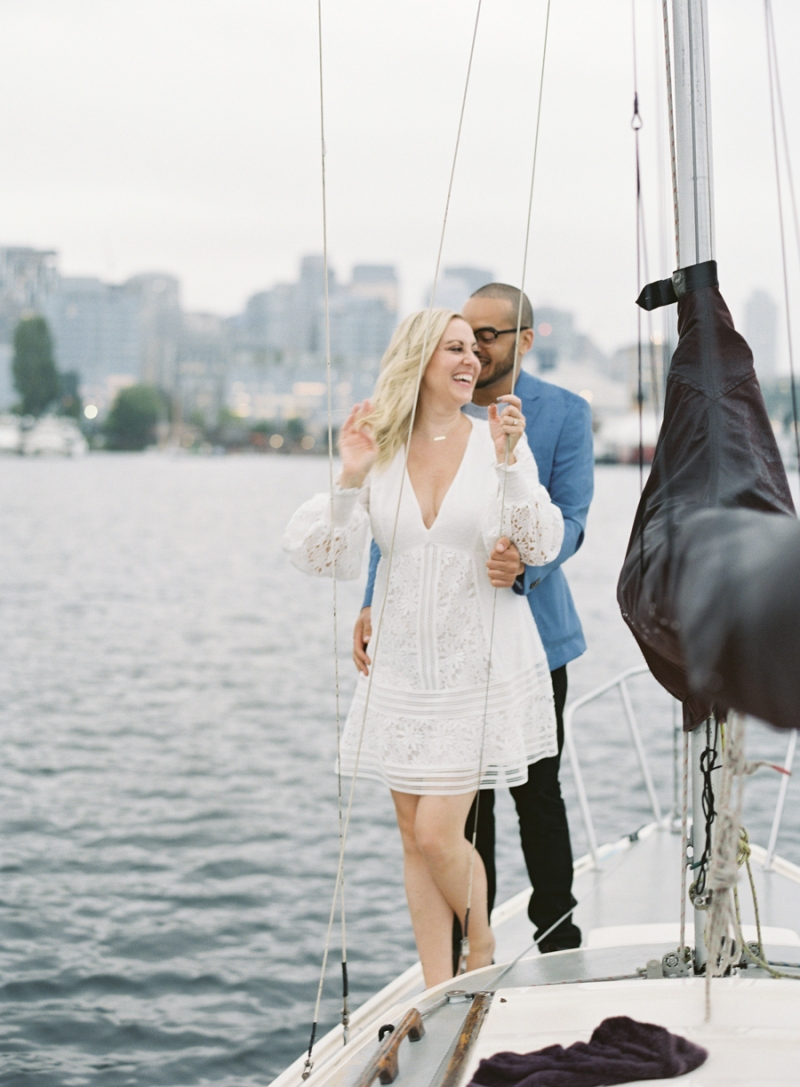 seattle sailboat engagement photos on film