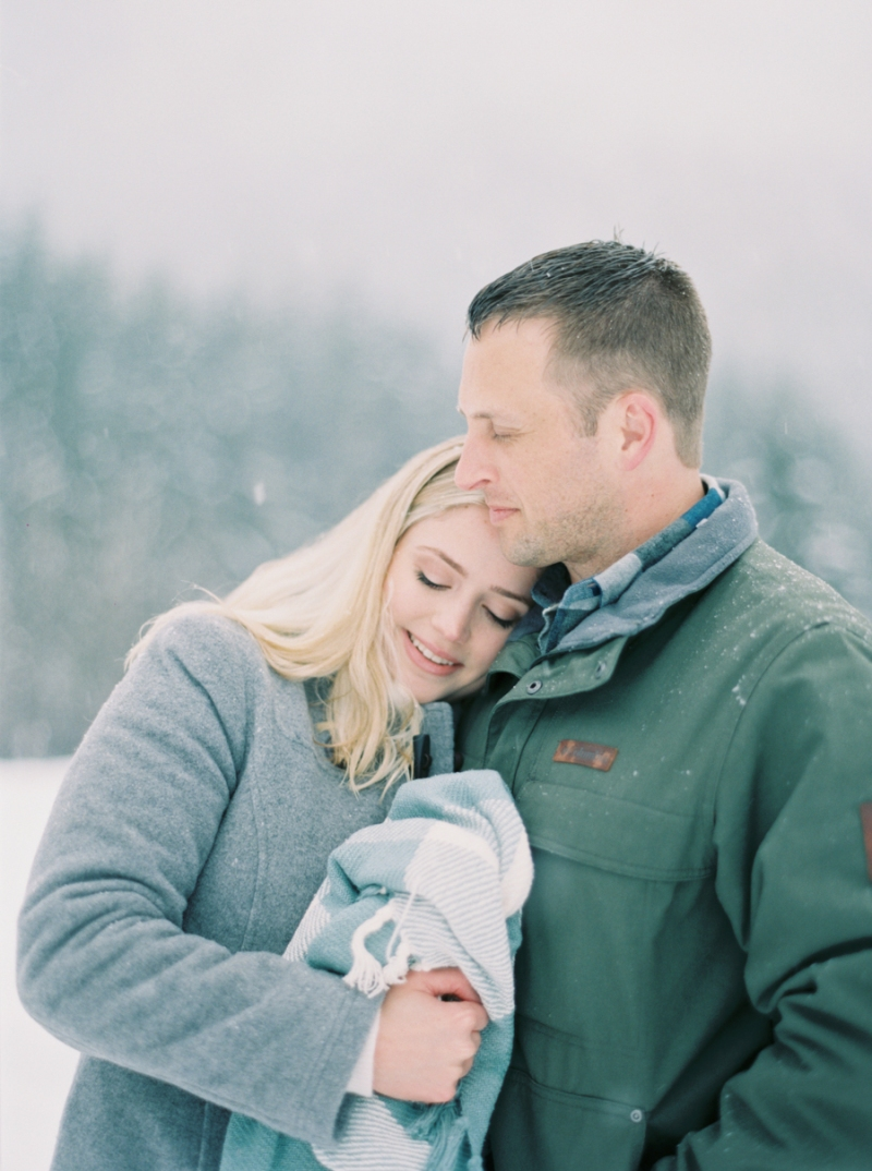 gold creek pond snoqualmie snow engagement photos on film