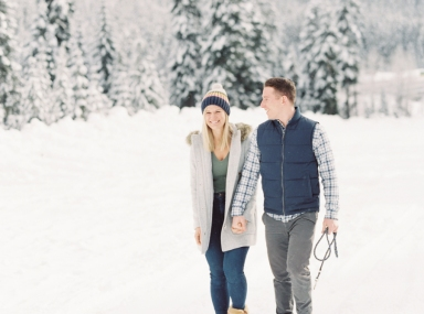 Snoqualmie Pass Engagement Photos in the Snow on Film